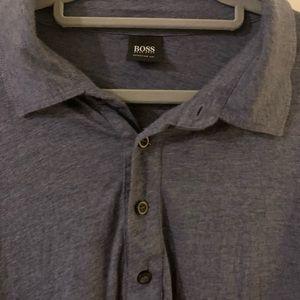 Hugo Boss Navy Blue Heathered Jersey Polo Shirt